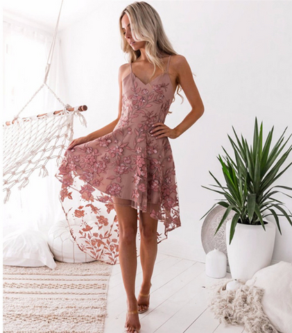 Alyssa Dress | Flower Lace Mid-Calf Sleeveless Spaghetti Strap