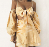 Amina Dress Set | Plaid Crop Tops and Ruffle Mini Dress Set