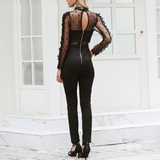 Ansley Jumpsuit | Backless zipper lace Transparent long sleeve O neck playsuit