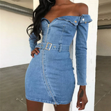 Ariel Mini Dress | Off Shoulder Sashes Denim Zipper Strapless