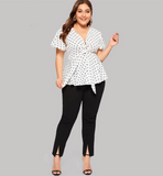 Aspen Blouse | Plus Size White Elegant Polka Dot Print  V Neck Knot Front  Flared Hem Trim