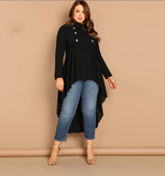 Astrid Blouse | Plus Size Black Blouse Mock Neck Double Breasted Dip Hem Long Sleeve