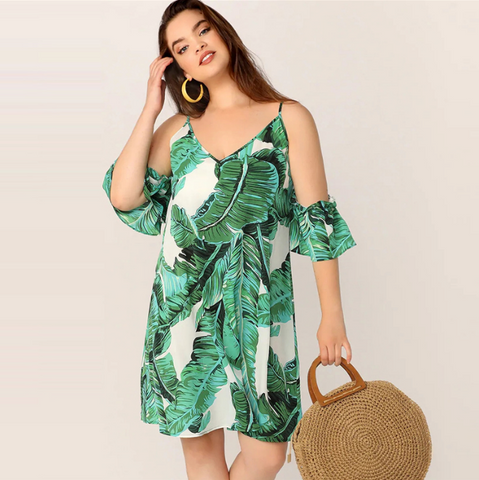 Aubrie Dress | Plus Size Green Tropical Print Cold Shoulder Shift Midi Dresses