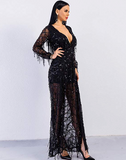 Avalyn Maxi Dress | Deep V Neck Long Sleeve Split Sequined Maxi Party Cocktail Dress