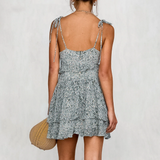 Averi Mini Dress | Backless Floral Print Ruffle Dress High waist strap mini dress