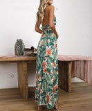 Jeannie Maxi Dress | Floral Printed Vintage Split Sexy V-Neck Backless Summer Maxi Dress