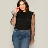 Blair Blouse | Plus Size Black Tie Neck Pearl Beads Long Sleeve