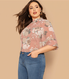 Briella Blouse | Plus Size Pink Mock-neck Curved Hem Floral Print Flounce Half Sleeve