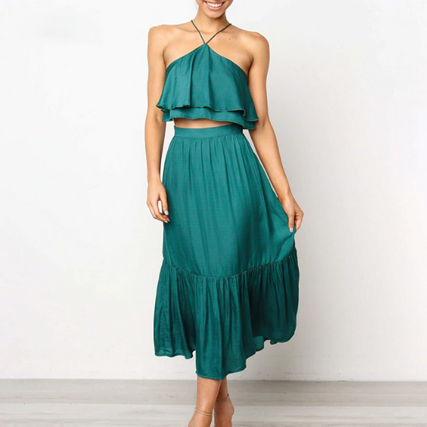 Brooke Dress | Halter Summer Ruffle Sleeveless