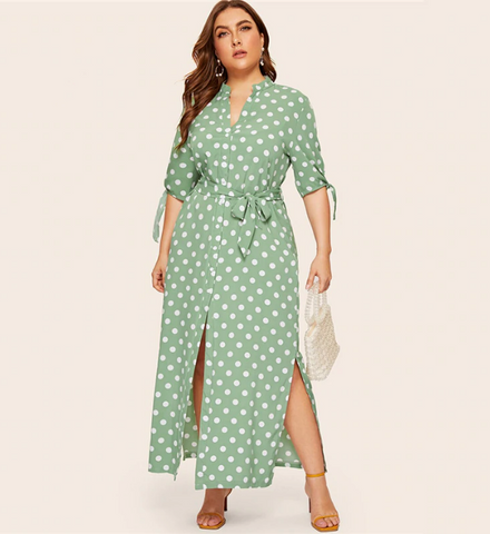 Brooke Dress | Plus Size Polka Dot Print Straight Dress Lace Up Half Sleeve Shirt Side Split Dress