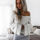 Carter Sweater | White Ruffles Flare Sleeve Knitting Pullover Loose Knit