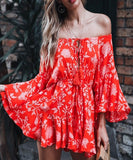 Catalina Romper is a trendy floral print romper. It is a Slash neck playsuit with long flare sleeves