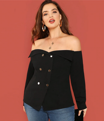 Remi Top | Black Plus Size Foldover Front Off Shoulder Top Slim Fit Long Sleeve Shirt
