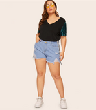 Clara Top | Plus Size Casual Contrast Sequin Sleeve Tee Patchwork V Neck Tee