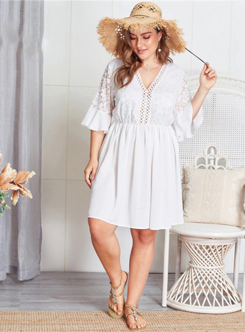 Dakota Dress | Plus Size Contrast Lace Hollowed Out V Neck Flounce Sleeve