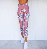 Davina Athletic Set | Wicking Flower Print V Neck Bra With Pad High Waist Slim Leggings
