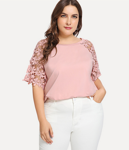 Destiny Blouse | Pink Plus Guipure Lace Raglan Sleeve Elegant Solid Stretchy Casual