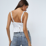 Edith Crop Cami | Cotton Linen Ruffle Lace Up Backless Sleeveless