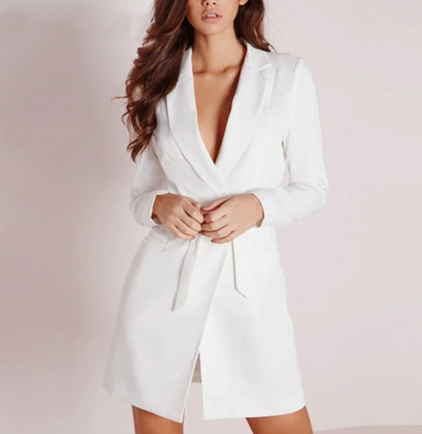 Elina Blazer | V Neck Belt White Blazer Long Sleeve Black