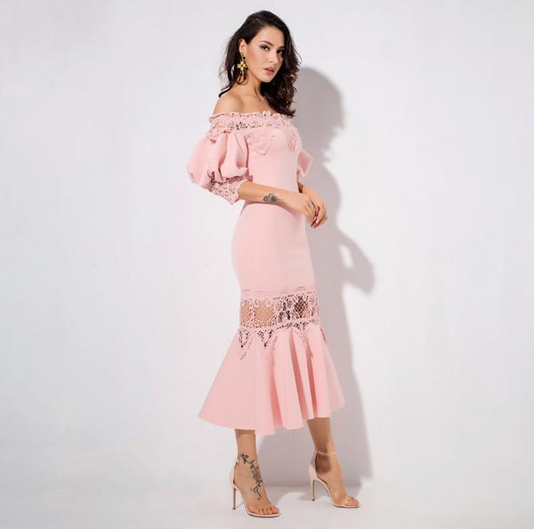 Elizabeth Party Dress | Pink Drop Shoulder Lace Panel Lantern Sleeve