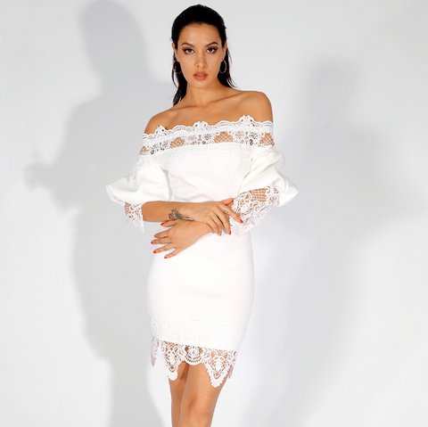 Mila Slim Fit Party Dress | Sexy Off-The-Shoulder Lace Decorative Lantern Sleeves