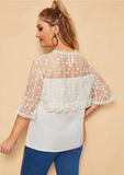 Elliana Blouse | Plus Size Contrast Mesh Button Keyhole Back Blouse White Casual Solid
