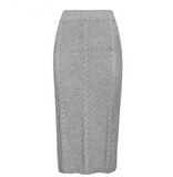 Emilia Two Piece Set | Knitted Skirt Suit Long Sleeve Sweater Dress Gray