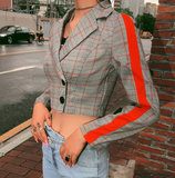 Erin Blazer | Jackets Cropped Long Sleeve Red Side Striped Plaid Single Breasted Vintage