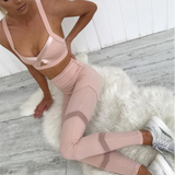 Evelyn Two Piece Set | Mesh Patchwork Pink Leggings Hollow Out Slim Sporting Fitness