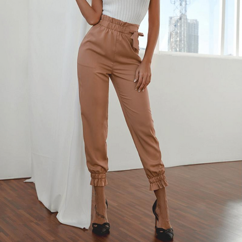 Finley Pants | Brown Harem Pants Ruffle Elastic High Waist