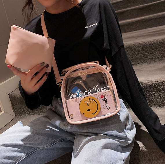 Gabriela Backpack | Transparent Backpack Letter Printing and Purse