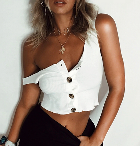 Galilea Crop Top | White Ribbed Tank Sleeveless Buttons Up Basic Stretched
