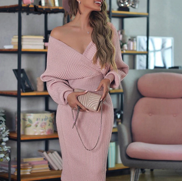Giselle Two Piece Dress | V Neck Knitted Pink Two Piece Batwing Sleeve Sweater