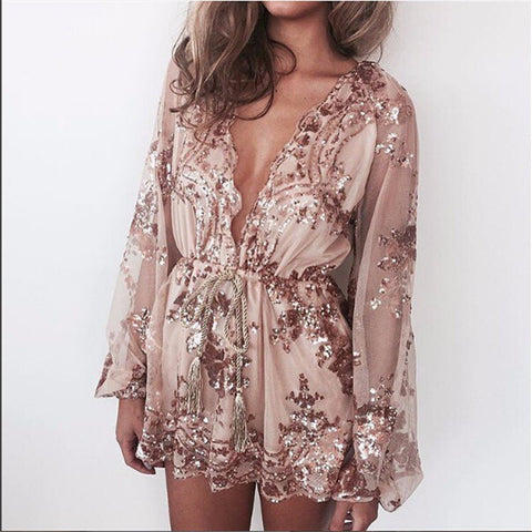 Sara | Halter cold shoulder summer Playsuit