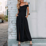 Hadlee Jumpsuit | V-Neck Off Shoulder Jumpsuit Loose High Waist Bow Solid
