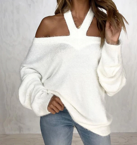 Hailee Sweater | Off Shoulder Knitted Pullover White Stretch Knit Crochet
