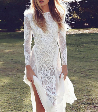 Hailey Maxi Dress | Lace Robe White Floral Backless Slim Long