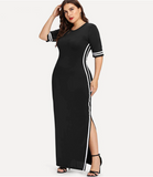 Hailey Maxi Dress | Plus Size Black Striped Tape Detail Knitted Split Burgundy Solid Stretchy Long Dress