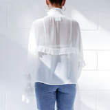 Haven Blouse | Ruffle Elastic Stand Neck White Flare Sleeve