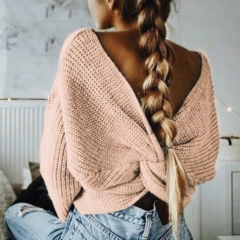 Hayden Sweater | V Neck Backless Long Sleeve Pullover Cropped