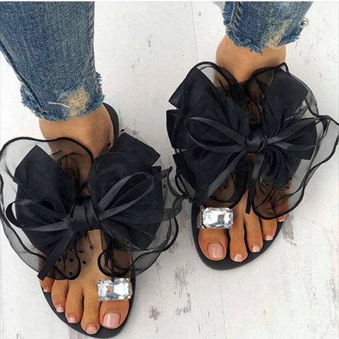 Amy | Bowtie Flower Flat Sandals