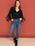 Irene Bodysuit | Plus Size Black Solid Fringe Long Sleeve Office Ladies Bodysuits