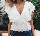 Iris Top | V Neck Ruffle White Lace Button Embroidery