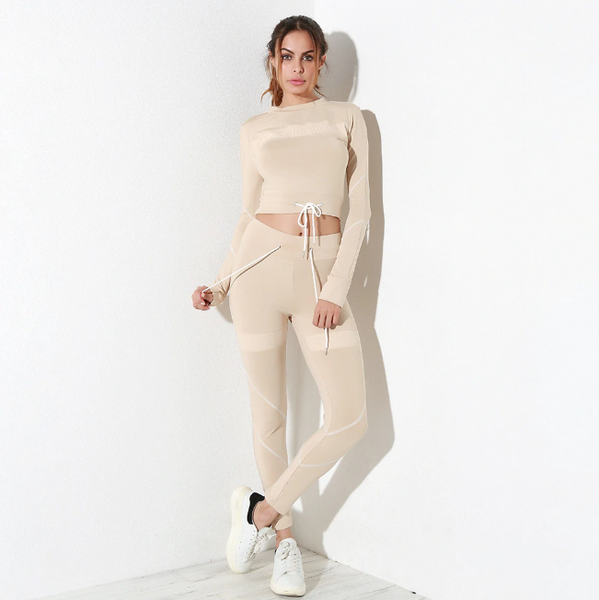 Isabella Two Piece Set | Mesh Splicing Set Fitness Long Sleeve Leggings