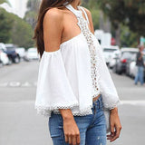Janine-Halter-Neck-Off-Shoulder-Flare-Sleeves-Top