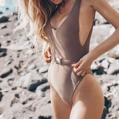 Jazmine Swimsuit | High cut V-neck Push up Summer