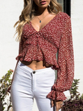 Jenesis Crop Top |  Red Floral Print Ruffle Blouse V Neck Button Long Sleeve Side Zipper Crop