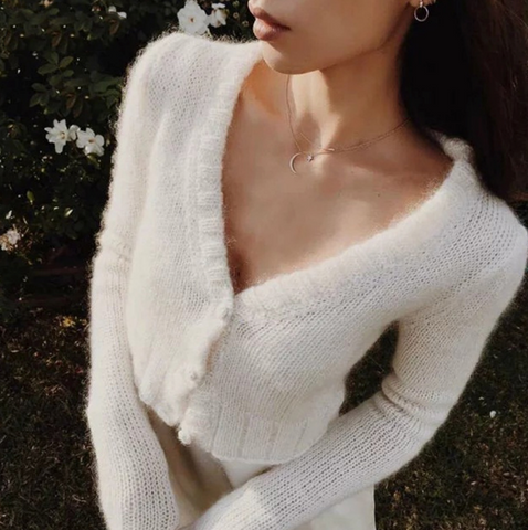 Jenna Cardigan | Deep V Knitted Mohair Cropped White Long Sleeve Button