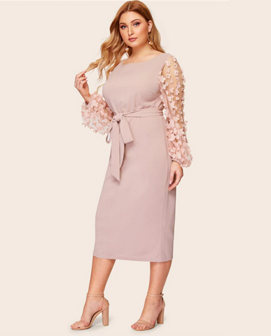 Jessie Dress | Plus Size Pink Appliques Contrast Mesh Belted Elegant Bishop Sleeve