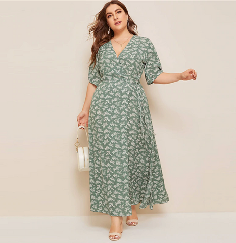 Joanna Maxi Dress | Plus Size V Neck Wrap Dress  Half Sleeve Floral Print Side Slit
